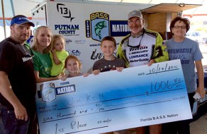Captain Jim and family after winning 1st Place at the Bass Nation Tournament